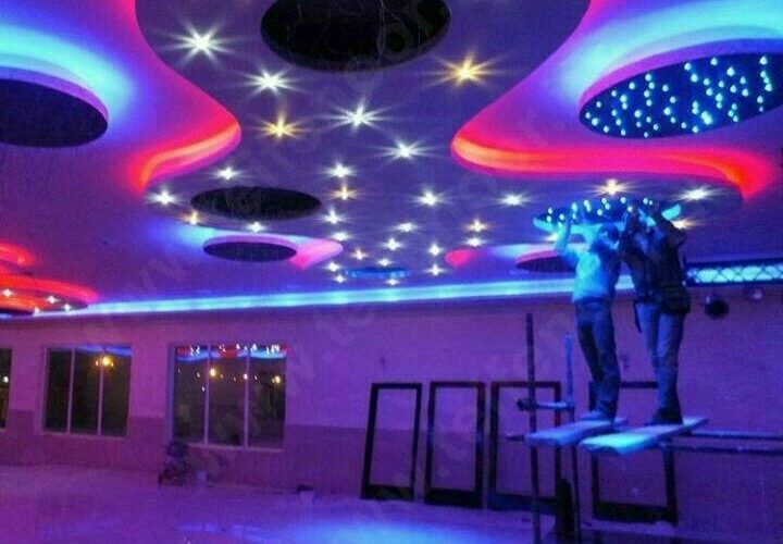 نورپردازی ترکیبی چراغ کریستال و نورمخفی ، مینی دات