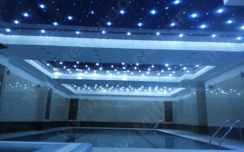 نورپردازی استخر های مدرن ، با کریستال و فیبر نوری